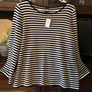 Gap Nautical Striped Bell Sleeves Top Boat Neck M